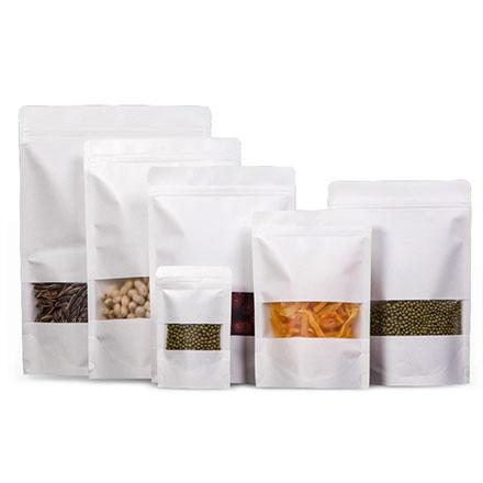 Custom Ziplock Brick Tea Packing Bag Stand Up Pouch White Kraft Paper Bag