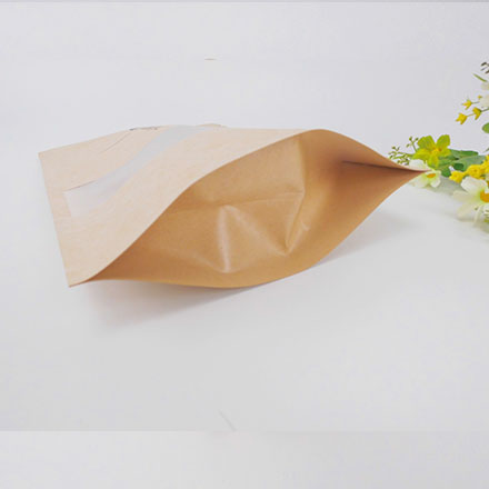 Reusable Food Pouch Stand Up Zip Lock Kraft Paper Bags With Window Manufacturer