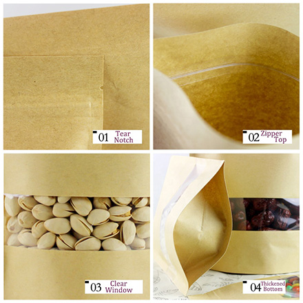 Custom Printed Doypack Resealable Ziplock Brown Kraft Paper Standing Up Pouches Packaging Bags With Clear Window And Zipper