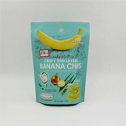 China Supplier Wholesale matt laminated aluminum foil stand up banana chips food bag